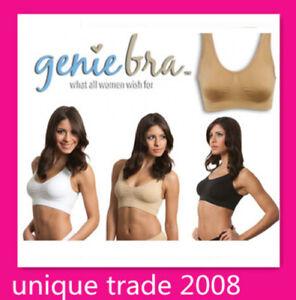 3 x GENUINE Genie Bra - Seamless Bra set with Pads S M L XL XXL XXXL 3 Colors
