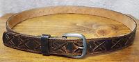 Chambers-Top Grain Leather Belt-Size S 38-Brown/Black-Metal Buckle-J0523-USA