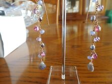 EXTREMELY PRETTY LONG 9CT GOLD AND MULTIGEM EARRINGS - BRAND NEW