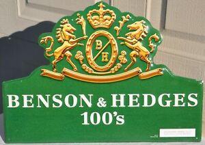 Vintage B&H Benson & Hedges 100's Cigarettes Metal Display Sign NOS 1996 Old VTG