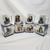4 NORMAN ROCKWELL Seafarers Complete Collection Porcelain Mugs 1985 Japan Made