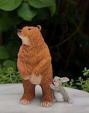 Miniature Dollhouse FAIRY GARDEN Figurine ~ Bear with Bunny Rabbit ~ NEW