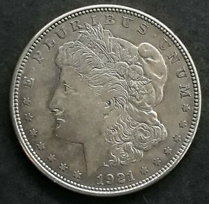"1921 United States ""Morgan Dollar"" Silver ( .90 ) $1 coin KM110 aVF D Mintmark"