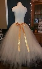 Womens Size large Tulle Tutu Skirt Beige Creme Color w Gold ribbon
