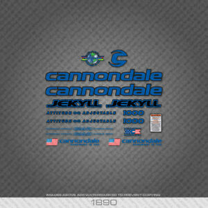 1890 Cannondale Jekyll 1000 Bicycle Stickers - Decals - Transfers - Blue