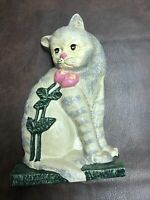 """Vintage Gray Cat And Pink Flower Cast Iron Doorstop 10"""" Tall"""