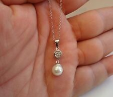 LADIES 925 STERLING SILVER NECKLACE PENDANT W/ 8MM WHITE PEARL & .50 CT DIAMOND