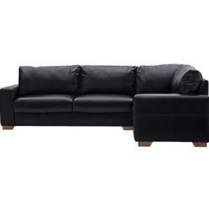 BRAND NEW Habitat Eton Right Hand Leather Corner Sofa - Black
