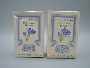 2 Freesia Crabtree & Evelyn Vintage 100 g 3.5 oz Soaps New in Box