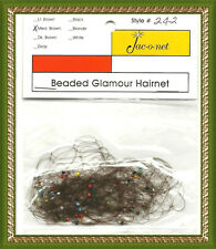 Jac-O-Net clear green red blue beaded glamour thin hair net medium brown color