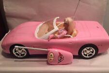 Barbie Pink Corvette Car Remote Control 2001 Mattel RC Works Lights K5353