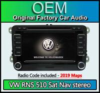 VW RNS 510 sat nav stereo, VW Tiguan Navigation CD DVD radio + code 2019 Maps
