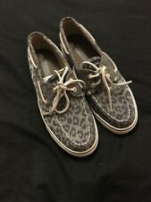 SPERRY TOP SIDER leopard Print Grey BOAT SHOES WOMEN'S SIZE Uk 4.5 Eur 37.5