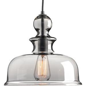 Progress Lighting Staunton 1-Light Graphite Pendant with Smoke Glass