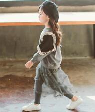 Child Girls Autumn Flounce Long Sleeve T-shirt Tulle Dress Pants Fashion Set 2PC