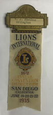 Lions Club Int.16th Annual conv. Dist.4 San Diego,ca .1935 Vintage Badge Pin Tag