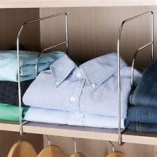 Set of 2 Shelf Dividers Metal Practical Chrome Shelves Organiser Clothes Storage