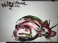 ORIGINAL katze MALEREI PAINTING zeichnung cat contemporary ART NAIV BILD A4 om 8