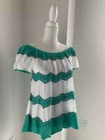 M Missoni Italy White Green & Pink Zigzag Knit Top Blouse SZ 44 US 8 M