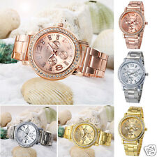 Geneva Luxury Women's Dress Crystal Stainless Steel Quartz Wrist Analog Watch