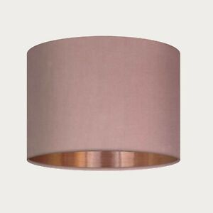 **. SALE. **  15 cm Lampshade Blush Pink Velvet Brushed Copper Drum Light Shade