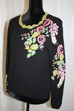 Women's Dolce Cabo Embroidered Sweater Floral  Rare!  one of kind Black size P L