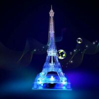 Crystal Eiffel Tower Puzzle 3D Musical Jigsaw with Beautiful Light Building Kit