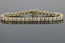 14K Yellow Gold 10.50ct Round Champagne Brown Diamond Tennis Bracelet