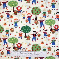 Fall Fabric - Apple Harvest Kids on Cream Thanksgiving - Timeless Treasures YARD
