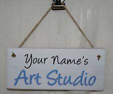 Mum Mummy Gran Dad Art Studio House Door Sign Plaque Rustic Wood Gift Chic Personalised