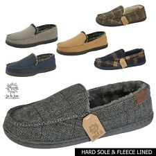 Mens Moccasin Slippers Tweed Winter Fur Lined Warm Leisure Cosy Shoes Size UK