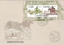 Latvia 2020 (05) Europe - Old Post Roads - Bicycle - Horse (souvenir sheet  FDC)
