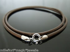 """2.5mm Brown Leather 925 Sterling Silver Necklace Or Wristband 16"""" 18"""" 20"""" 22"""" 24"""
