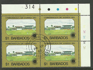 BARBADOS 1983 COMMONWEALTH DAY CRICKET TOP RIGHT Block of 4 USED