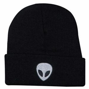 MIP- Unisex Black/ White Alien logo Beanie / one size fits most