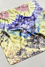 """Urban Outfitters Bandana Scarf Silky Multi Tie Dye Silky 21"""" Square OS NEW"""