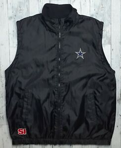 Vintage Dallas Cowboys Men's XL Reversible Vest NFL Fleece/Windbreaker Full Zip