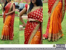 Wedding Bollywood Ethnic Bollywood Designer Red Orang Saree Party Sari Embroider
