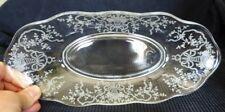 """Vtg Tiffin Cherokee Rose Etched Glass 12"""" oblong bowl"""