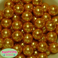 20mm Gold Acrylic Faux Pearl Bubblegum Beads 20pc gumba  Chunky Jewelry Necklace