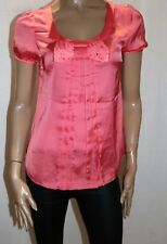 Unbranded Coral Silky Short Sleeve Blouse Top Size 10 BNWT #SB47