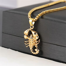 18K Gold Plated Men's Hip Hop Necklace Scorpion King Pendant Box Chain Charm 26""