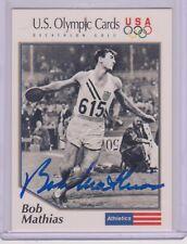 SWEET 1992 OLYMPIC BOB MATHIAS DECATHLON AUTOGRAPH CARD #1 ~ USA CERTIFIED AUTO