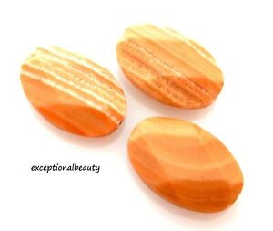 4 Red Malachite Flat Faceted 30mm Oval  Semi-Precious Gemstone Designer Beads