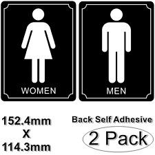 "2 pc 6"" X 4.5"" Restroom Washroom MEN WOMEN Sign Back Self Adhesive Vinyl Sticker"