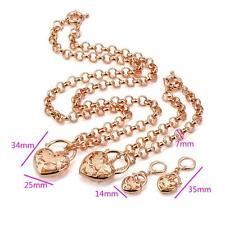18 K ct Rose Gold Filled Heart Padlock Pendant Women's Necklace - 3 piece set