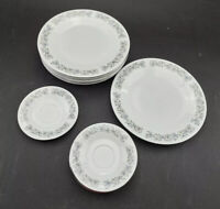 "Dynasty Fine China Elegance Set Of 6 10.5"" Dinner Plates And 6 6"" Teacup Saucers"