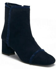 Stuart Weitzman On The Fringe Navy Suede Bootie Womens Heel Ankle Boots Size 6.5