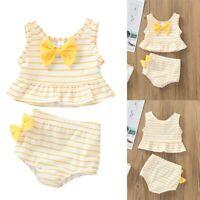 Toddler Kids Baby Girls Bow Swimsuit Striped Bathing Suit Bikini Sets Swimwear