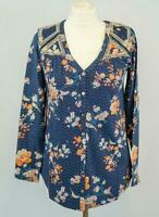 NEW Monsoon Navy Floral Embroidered Long Sleeve Top RRP £45 Now £20 Save £25